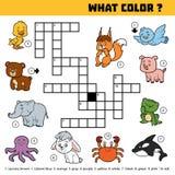 Wektorowy koloru crossword o kolorach Jaki kolor jest zwierzętami? Zdjęcia Royalty Free