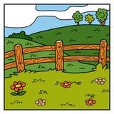 Wektorowy koloru tło, paśnik, pole i ogrodzenie, royalty ilustracja