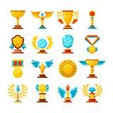 Wektorowy koloru trofeum i nagród ikony ustawiać na bielu ilustracja wektor