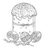 Wektorowy kontur wielkanocy tort, Paska słodki chleb, Ukraiński Wielkanocny jajko Pysanka lub wierzbowa gałązka w czerni odizolow royalty ilustracja