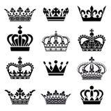 Wektorowy korona set Fotografia Royalty Free