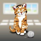 Wektorowy kot i dziewiarski wool.EPS10 Zdjęcia Royalty Free