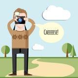 Wektorowy kreatywnie charakteru projekt bierze fotografie młody fotograf ilustracji