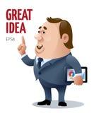 Wektorowy kreskówka biznesmen który doskonałego pomysł Obraz Royalty Free