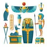 Wektorowy kreskówka egipcjanin ustawia - pharaoh sarkofag, bogowie royalty ilustracja