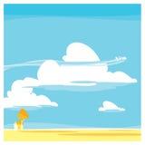 Wektorowy kreskówka krajobraz Chmury ilustracji