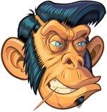 Wektorowy kreskówka modniś lub Greaser małpa głowy ilustracja royalty ilustracja