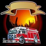 Wektorowy kreskówka samochód strażacki Fotografia Royalty Free