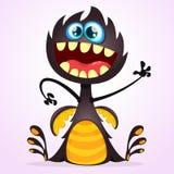 Wektorowy kreskówka smoka potwór Halloweenowy czarny potwora falowanie odizolowywający Obrazy Stock