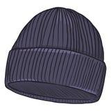 Wektorowy kreskówka zmrok - błękitny Trykotowy kapelusz Zdjęcia Stock