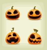 Wektorowy kreskówki Halloween dyniowy ustawiający z straszną śmiech twarzą royalty ilustracja