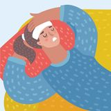 Wektorowy kreskówki lustration młodej kobiety lying on the beach z migreną royalty ilustracja