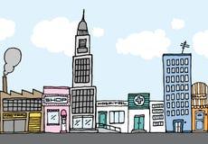 Wektorowy kreskówki miasto, koloru sąsiedztwo/ Obraz Royalty Free