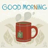 Wektorowy kreskówki mieszkanie filiżanka herbata Zdjęcie Royalty Free