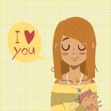 Wektorowy kreskówki mieszkanie kocham ciebie kartka z pozdrowieniami Obrazy Stock