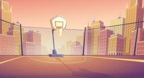 Wektorowy kreskówki tło uliczny boisko do koszykówki royalty ilustracja