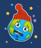Wektorowy kreskówki ziemi planety chłodny marznący w kapeluszu ilustracji