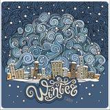 Wektorowy kreskówki zimy bajki miasteczko Zdjęcia Royalty Free