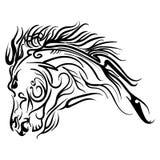 Wektorowy kreskowej sztuki końskiej głowy tatuażu nakreślenie Zdjęcie Stock