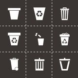 Wektorowy kubeł na śmieci ikony set Zdjęcie Stock