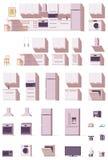 Wektorowy kuchenny wyposażenia i meble set royalty ilustracja