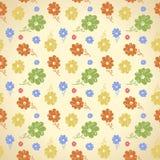 Wektorowy kwiatu wzór Bezszwowy tło Zielony żółty błękitny ponowny Obrazy Royalty Free
