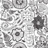 Wektorowy kwiatu wzór Czarny i biały bezszwowa botaniczna tekstura, wyszczególniać kwiat ilustracje Wszystkie elementy no cropped royalty ilustracja