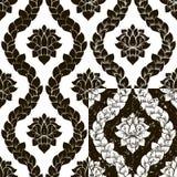 Wektorowy kwiecisty bezszwowy adamaszka wzór w cztery różnicach Czarny I Biały Monochromatyczny projekt Fotografia Stock