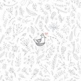Wektorowy kwiecisty bezszwowy wzór z ślicznym ptakiem w gniazdeczku ilustracja wektor