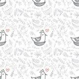 Wektorowy kwiecisty bezszwowy wzór z ślicznym ptakiem w gniazdeczku royalty ilustracja