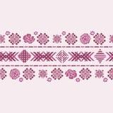 Wektorowy kwiecisty geometryczny broderii granicy koloru sylwetki ornament royalty ilustracja
