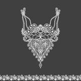 Wektorowy kwiecisty neckline i koronki granicy projekt dla mody Kwiatów i liści szyi druk Klatki piersiowej koronkowy zdobienie zdjęcia stock