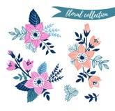 Wektorowy kwiecisty set Kolorowa kwiecista kolekcja z liśćmi i kwiaty wręczamy patroszonego Zdjęcia Stock