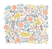 Wektorowy kwiecisty tło w doodle stylu - kwiaty i liście Obraz Royalty Free
