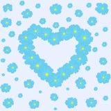 Wektorowy kwiecisty tło z sercem błękitni kwiaty ilustracja wektor