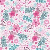 Wektorowy kwiecisty wzór w doodle stylu z kwiatami i liśćmi Zdjęcie Stock