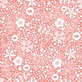 Wektorowy kwiecisty wzór w doodle stylu z kwiatami i liśćmi Obrazy Royalty Free