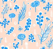 Wektorowy kwiecisty wzór w doodle stylu z kwiatami i liśćmi Delikatny, wiosny kwiecisty tło Zdjęcie Stock