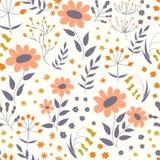 Wektorowy kwiecisty wzór w doodle stylu z kwiatami i liśćmi g royalty ilustracja