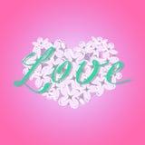 Wektorowy kwitnący lily serce z romantycznym miłość tekstem na gradient menchii tle Ilustracji