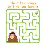 Wektorowy labirynt, labitynt z małpą i banan, Zdjęcie Royalty Free