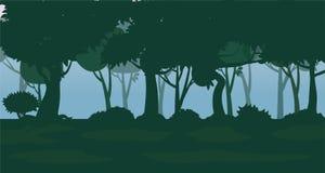 Wektorowy Lasowy tło Drzewa, krzaki i gąszcze w postaci sylwetek, Wektor, odizolowywający royalty ilustracja