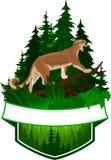 Wektorowy lasu emblemat z puma kuguarem ilustracja wektor