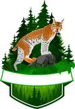 Wektorowy lasu emblemat z rysiem royalty ilustracja