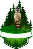 Wektorowy lasu emblemat z sową royalty ilustracja