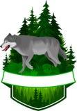 Wektorowy lasu emblemat z szarym wilkiem ilustracja wektor