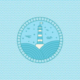 Wektorowy latarnia morska loga projekta szablon w modnym liniowym stylu Obraz Royalty Free