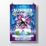 Wektorowy lato plaży przyjęcia ulotki projekt z typograficznymi i muzycznymi elementami na błękitnym palmowym tle Mówcy i okulary Zdjęcie Stock