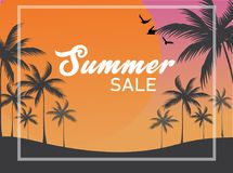 Wektorowy lato sprzedaży sztandaru tło, sylwetka ptaki i tropikalni kokosowi drzewa z dużym słońcem na mrocznym niebie w tle, royalty ilustracja