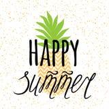 Wektorowy lato sztandar z ręka rysującym ananasem, pisze list projekta elementu ` lata Szczęśliwy ` Zdjęcia Stock